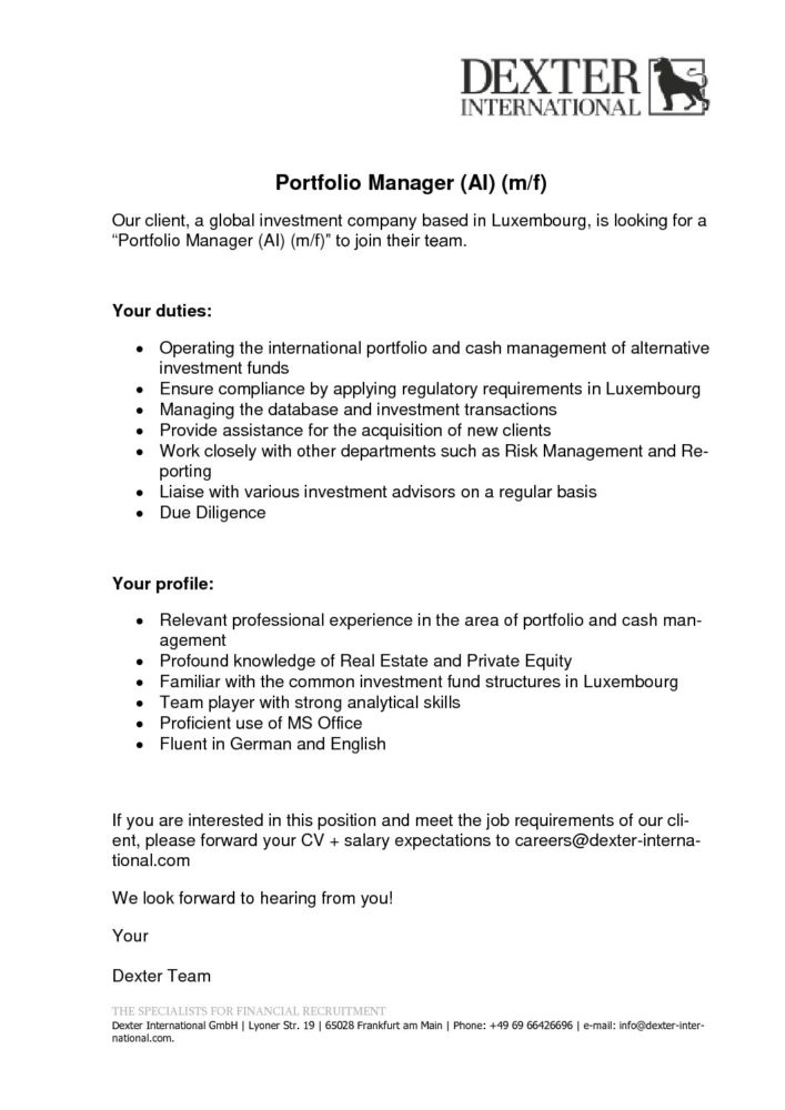 Großartig Portfolio Manager Job Description Pdf Galerie - Bilder für ...